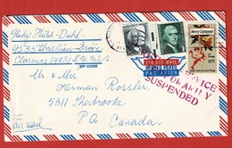 Airmail Cover  197? New York - Canada RETURN SERVICE TEMPORALY SUSPENDED - Etats-Unis