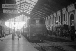 Narbonne. Locomotive 2D2 N° 5108. Cliché Jacques Bazin. 04-08-1959 - Trains