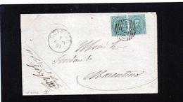 CG11 - Lett. NO TESTO Da Sciolze X Marentino 7/4/1881 - Ann. A Sbarre N. 2140 Su Coppia Cent.5 + Cerchio Gr. Nom. - 1878-00 Umberto I