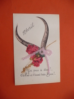 1 Er Avril Carte Chromo Découpie De Roses Cornes - 1 April (aprilvis)