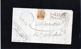 CG11 - Lett. Da Sciolze X Marentino 21/12/1876 - Ann. A Punti N. 2140 Su Cent. 10 Em.Torino + Doppio Cerchio Nom. - 1861-78 Vittorio Emanuele II