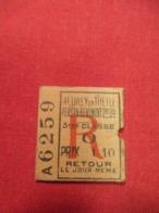 Ticket Ancien Usagé/Neuilly En Thelle Persan Beaumont/ 3éme Classe/RETOUR/Le Jour Même//Prix 1,10/ Vers 1900-1930  TCK76 - Europa