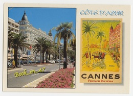 {38301} 06 Alpes Maritimes Cannes , Multivues ; Le Carlton Et Affiche Ancienne - Cannes