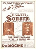 """PUB RADIO SUPERHETERODYNE 7 LAMPES  """" SONORA  """"   1933 ( 5 ) - Radio & TSF"""