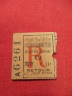 Ticket Ancien Usagé/Neuilly En Thelle Persan Beaumont/ 3éme Classe/RETOUR/Le Jour Même//Prix 1,10/ Vers 1900-1930  TCK77 - Europe