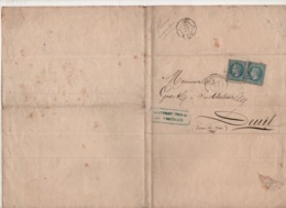 Document Manuscrit Greffier Au Tribunal De Pontoise Le 25/09/1869 - 2 Timbres Oblitérés PONTOISE - (TIMBRE IMPERIAL) - 1863-1870 Napoléon III Lauré