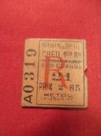 Ticket Ancien Usagé/Neuilly En Thelle CREIL Par Persan/3éme Classe/RETOUR/Le Jour Même//Prix 2,85/ Vers 1900-1930  TCK78 - Europa