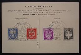 1942 Exposition Philatélique La Poste à Paris Carte Avec Timbres N° 553 Et 562 à 564 : La Petite Poste - 1921-1960: Période Moderne