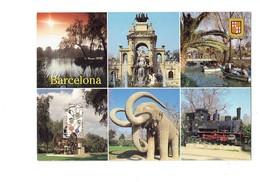 Cpm - Espagne - BARCELONA - Multivues - LOCOMOTIVE TRAIN Statue Mammouth - Parc - 2000 - - Barcelona