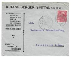 Austria Censor Mail Zensur WW1 (2 Scans) Spittal - Bentheim,  Rückseitig Kaffee Reklame - Other
