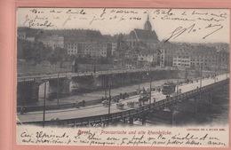 OUDE POSTKAART - ZWITSERLAND - SCHWEIZ - SUISSE -   BASEL - PROVISORISCHE UND ALTE RHEINBRUECKE   1903 - BS Basel-Stadt