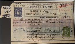 1930 Mandat De Poste PaimBOEUF Loire Inférieure - Storia Postale
