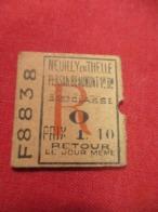 Ticket Ancien Usagé/Neuilly En Thelle Persan Beaumont/3éme Classe/RETOUR/Le Jour Même//Prix 1,10/ Vers 1900-1930  TCK79 - Chemins De Fer