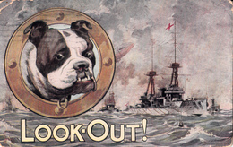 Vintage WW1 1914-1918 - Bull Dog Series No. 1 - War Ship - Look Out - By L.M. & Co. No. 102 - 2 Scans - Dogs