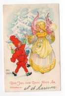 SMALL POSTCARD ARTIST SIGNED - AINA STENBERG - SWEDEN - USED Ca. 1945 - CHRISTMAS - NEW YEAR - GOD JUL Och GOTT NYTT ÅR - Altre Illustrazioni