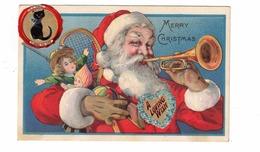SANTA CLAUS Playing Trumpet, 2 Add-On Stickers, Black Cat, Pre-1920 Postcard - Santa Claus