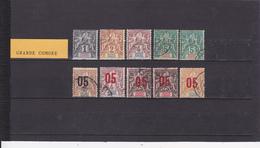 UN LOT DE 10 TIMBRES OBLITéRéS, NEUFS SANS GOMME - Grote Komoren (1897-1912)