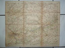 Carte Topographique Toilée  1/100000 1906 Namur Huy Waremme Burdinne Perwez Jodoigne Hannut Andenne Amay Eghezée - Carte Topografiche