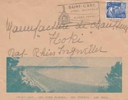 GANDON 15F SUR ENVELOPPE ILLUSTREE SAINT CAST 10/1/56 POUR INGWILLER BAS RHIN - Marcophilie (Lettres)