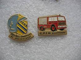 2 Pin's Des Sapeurs Pompiers De La Commune De BALLERSDORF - Brandweerman