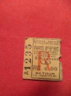 Ticket Ancien Usagé/Neuilly En Thelle Paris 5é Mery/3éme Classe/RETOUR/Le Jour Même//Prix 4,00/ Vers 1900-1930  TCK80 - Chemins De Fer