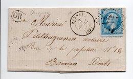 - Boite Rurale CUGNEY Via MARNAY (Haute-Saône) Pour BESANCON 3 AVRIL 1867 - 20 C. Bleu Napoléon III Losange GC 2228 - - 1849-1876: Klassieke Periode