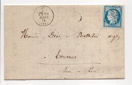 - Boite Rurale BUCEY-LÈS-GY Via GY (Haute-Saône) Pour TOURNUS 10 MARS 1874 - 25 C. Bleu Type Cérès Losange GC 1750 - - 1849-1876: Klassieke Periode