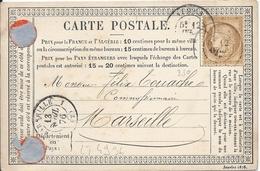 LT4936  N°55/carte Postale, Oblit Cachet à Date De Nîmes, Gard (29) Pour Marseille, Bouches-du-Rhone (12) Du 12 Avr 1876 - 1871-1875 Cérès