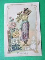 Chromo Art Nouveau_Belle Jardiniere BERIOT A LILLE_PIVOINE INDOCHINE_Jeune Fille Cueillant Les Fleurs - Autres