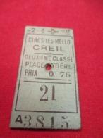 Ticket Ancien Usagé/Cires Les Mello CREIL/2éme Classe /Place Entière/Prix 0,75/ Vers 1920-1950  TCK82 - Treni
