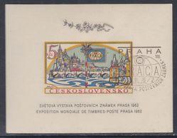 """Tchécoslovaquie BF N° 21 O """"Pragua 1962"""", Expo. Phila Internatinale,  Le Bloc Non Dentelé, Oblitéré, TB - Blocs-feuillets"""