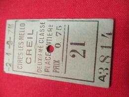 Ticket Ancien Usagé/Cires Les Mello CREIL/2éme Classe /Place Entière/Prix 0,75/ Vers 1900-1930  TCK83 - Europa