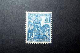 FRANCE 1929 N°257I ** (JEANNE D'ARC. LIBÉRATION D'ORLÉANS. 50C BLEU. TYPE I) - Neufs