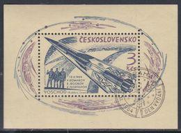 Tchécoslovaquie BF N° 25 O Vol De Voskhod,  Le Bloc  Dentelé,  Belle Oblitération Sinon TB - Blocs-feuillets