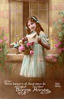 CPA   - Enfant - Bonne Année -  Fleurs   - écrite - Scènes & Paysages