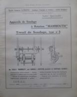 """Plan TREUIL De SONDAGE """"MAMMOUTH"""" Ets Lemoine LIEGE  - Page Catalogue Technique De 1925 (Dims Env 22 X 30 Cm) - Machines"""