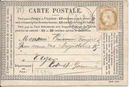 LT4940  Variété/n°55/carte Postale, Oblit Cachet à Date De Tarn Et Garonne A Déchiffrer Pour Agen, Lot-et-Garonne (45) - 1871-1875 Cérès