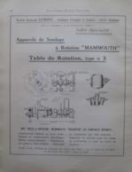 """Plan Table Rotation De SONDAGE """"MAMMOUTH"""" Ets Lemoine LIEGE  - Page Catalogue Technique De 1925 (Dims Env 22 X 30 Cm) - Machines"""