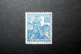 FRANCE 1929 N°257I * (JEANNE D'ARC. LIBÉRATION D'ORLÉANS. 50C BLEU. TYPE I) - Neufs