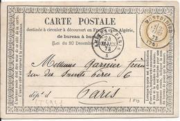 LT4941  N°59/carte Postale, Oblit Cachet à Date De Montdidier, Somme (76) Pour Paris (60) Cachet à Date Des Ambulants Du - 1871-1875 Cérès