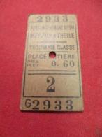 Ticket Ancien Usagé/PERSAN BEAUMONT Mesnil En Thelle/3éme Classe /Place Entière/Prix 0,60/ Vers 1920-1950  TCK84 - Bahn