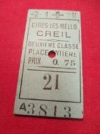Ticket Ancien Usagé/Cires Les Mello CREIL/2éme Classe /Place Entière/Prix 0,75/ Vers 1900-1930  TCK85 - Bahn