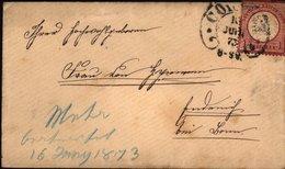 COLMAR - 4 Plis Cachet Fer à Cheval (Hufeisenstempel) 1873 Avec Cachet AUSG N°1 Au Verso Pour 3 D'entre-eux - Marcophilie (Lettres)