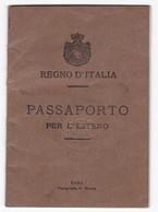 PASSAPORTO STORICO - HISTORIC PASSPORT - REGNO D'ITALIA - 1916 - Vecchi Documenti