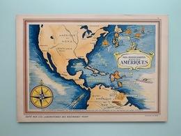 AMERIQUE Nos Possessions Carte Géographique Superbe 340 X 240 Mm Pub: Neutrose Vichy + Protection Cristal 3 Scans TTB - Geographical Maps