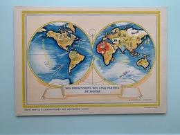 Le MONDE Nos Possessions Carte Géographique Superbe 340 X 240 Mm Pub: Neutrose Vichy + Protection Cristal 3 Scans TTB - Geographical Maps