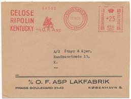 Meter Slogan Commercial Cover Hasler / O.F. Asp, Celose Ripolin Kentucky, Enamel Paint - 11 October 1955 København 17 - Danemark