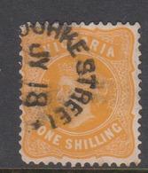 Australia-Victoria SG 408a 1901-10 One Shilling Yellow,perf 12.5,used - 1850-1912 Victoria
