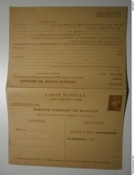 Rare. Entier Postal Complet Pétain. Carte Postale Demande D'extrait De Mariage + Carte Postale Réponse Payée  (ASp6) - Cartes Postales Types Et TSC (avant 1995)