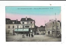 94 Villeneuve Le Roi 3113place Le Blanc Barbedienne EM Colorisée écrite 1951 TBE Cafe Fontaine Cafe Mairie - Villeneuve Le Roi